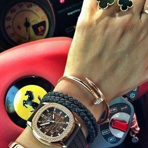 Gold Nail Bangle Bracelet
